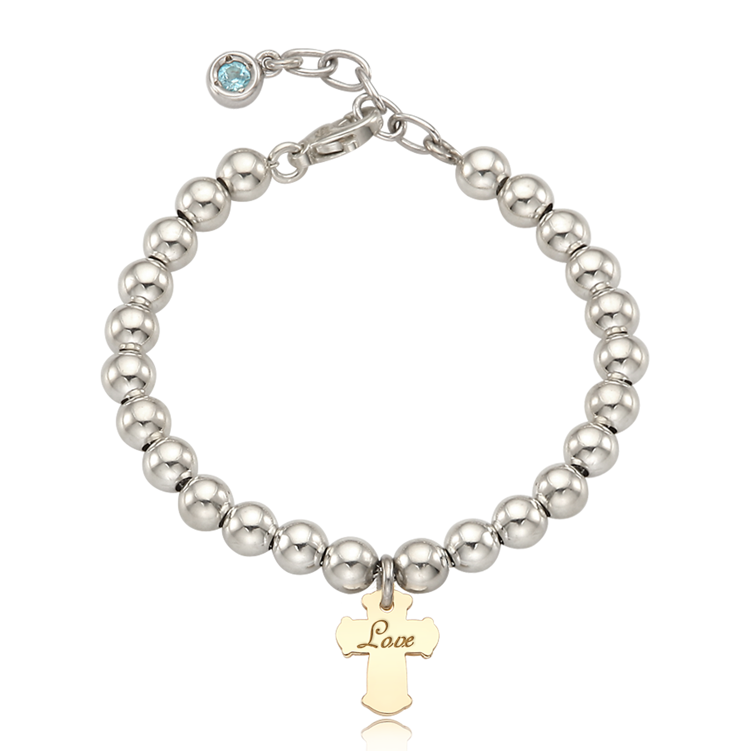 Silver 5mm ball bracelet-5K gold cross pendant 3mm natural birthstone can be engraved