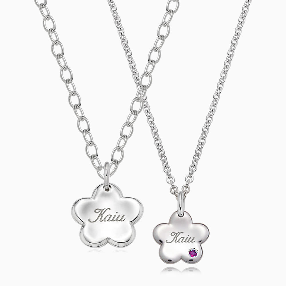 [With my Pet] Silver Baby Flower Necklace
