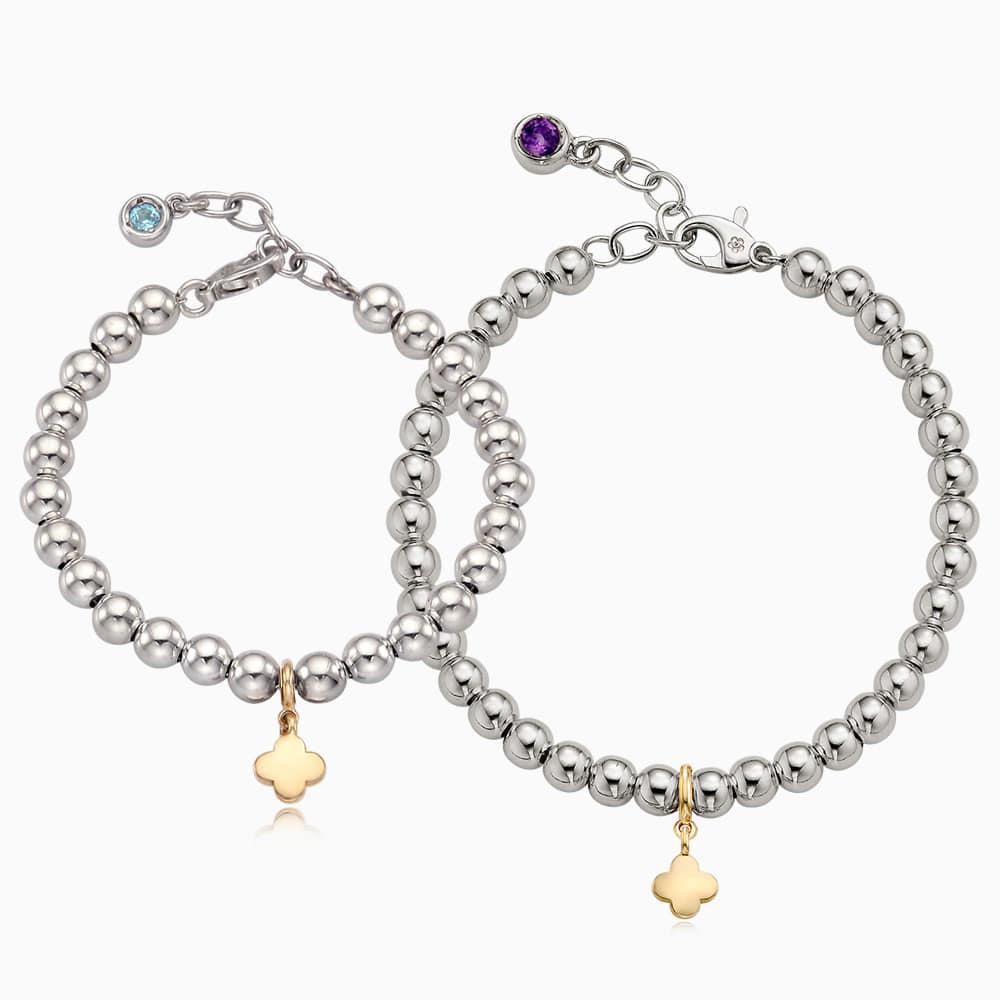 [With My Child] 5K Gold Mini Clover Pendant Silver Ball Couple Bracelet