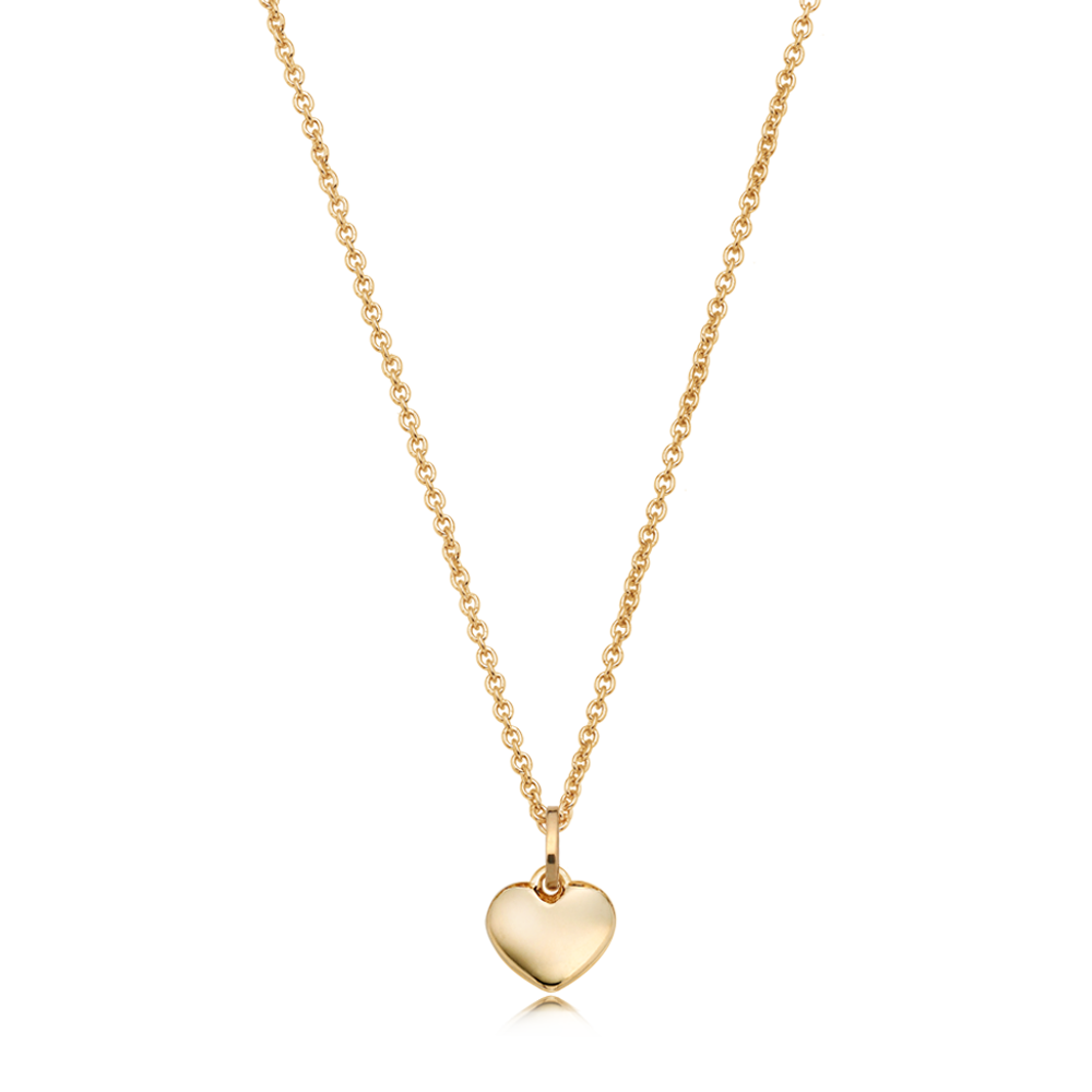 14K/18k Yellow Gold Small Heart Necklace- 0.5 Cable Chain