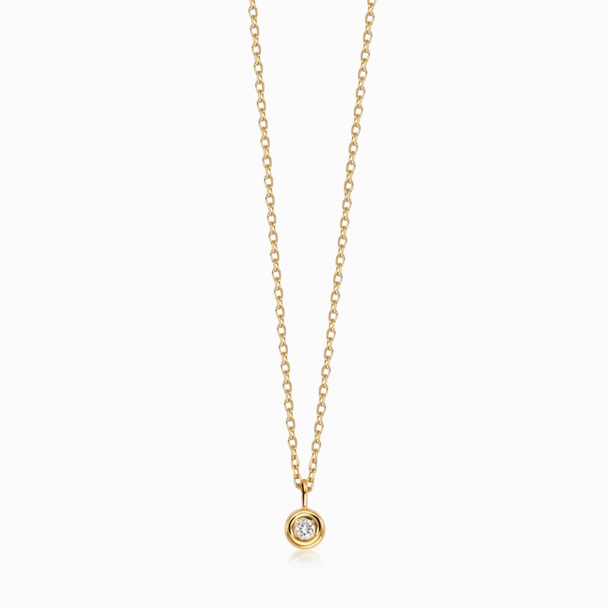 14K/18K Gold April Diamond Natural Birthstone Necklace - Lucky Gem