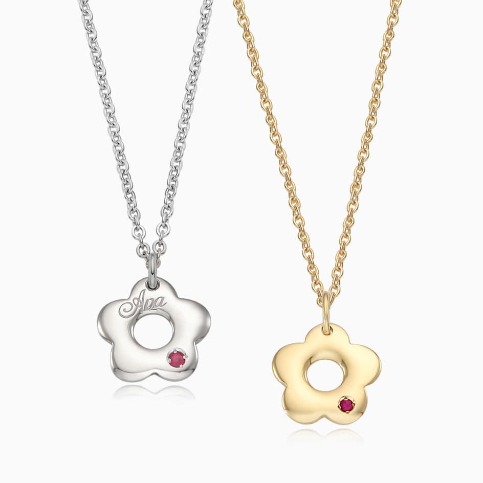[With My Child] Silver/ 14K/18K Donut Flower Necklace