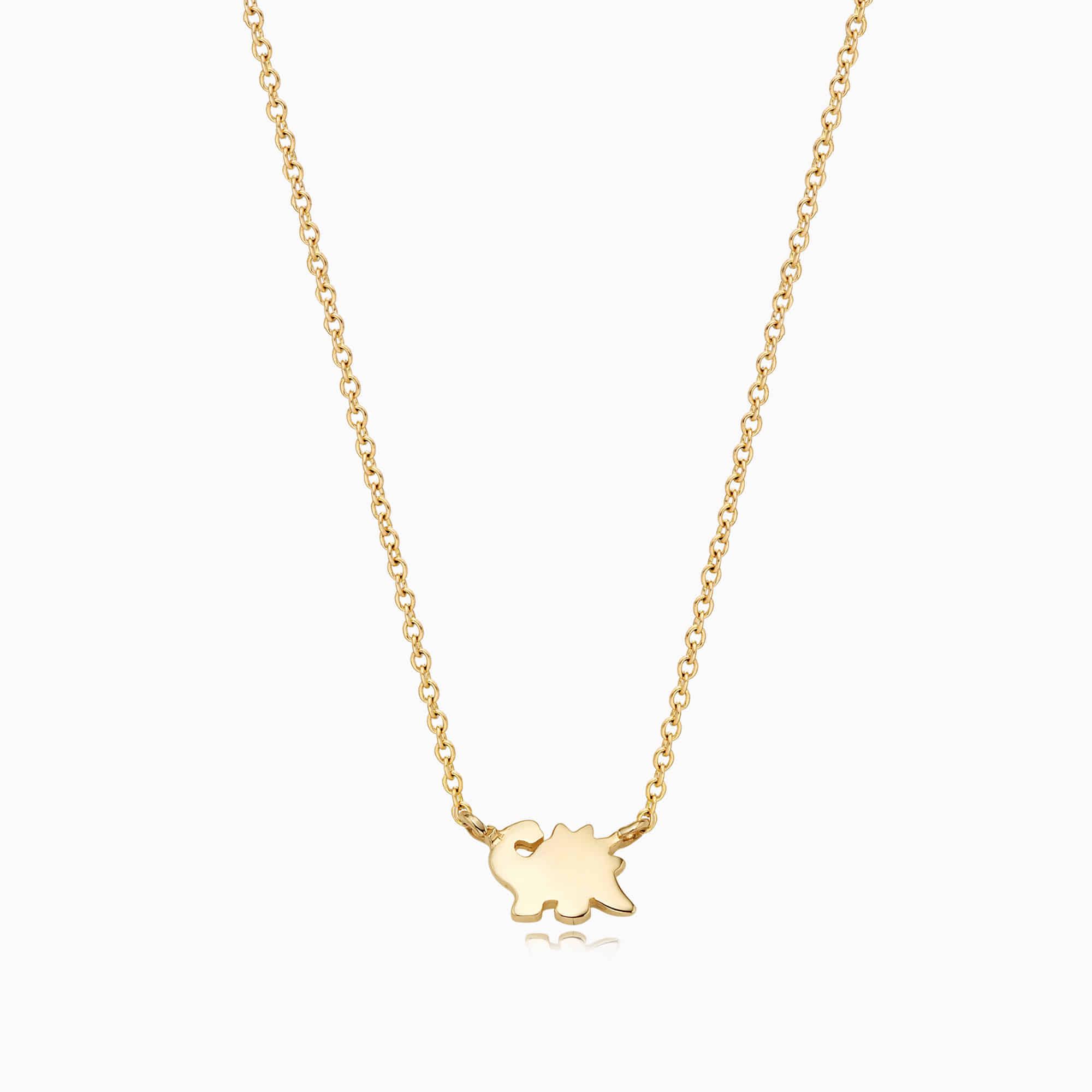 14K/18k Gold Simple Mini Dinosaur Necklace