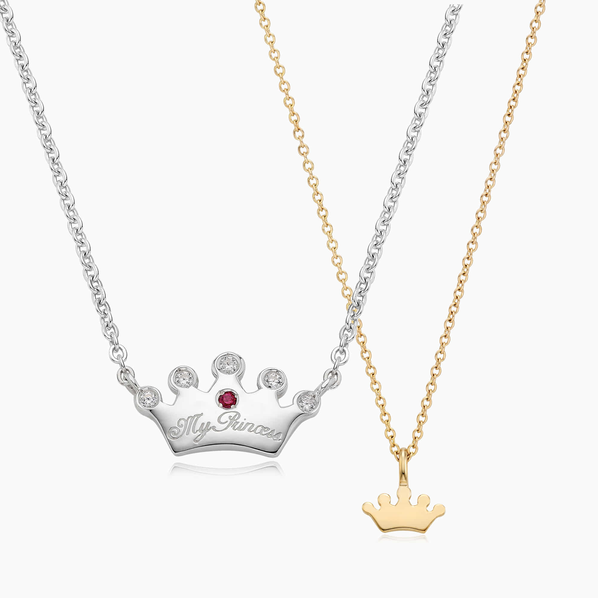 [With My Child] Silver/14K/18K Crown Necklace