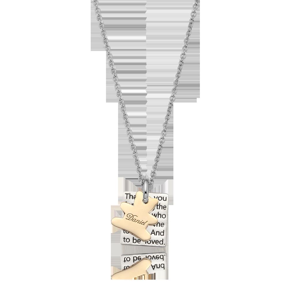 银色方形盘 -  5K金熊小饰物项链