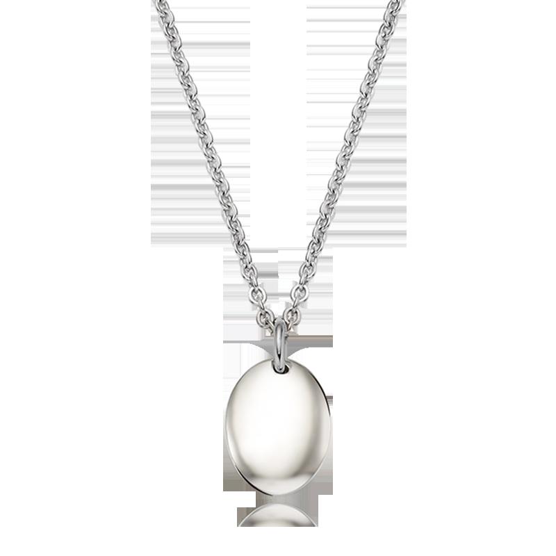 Kaiu 现代造型椭圆形银项链
