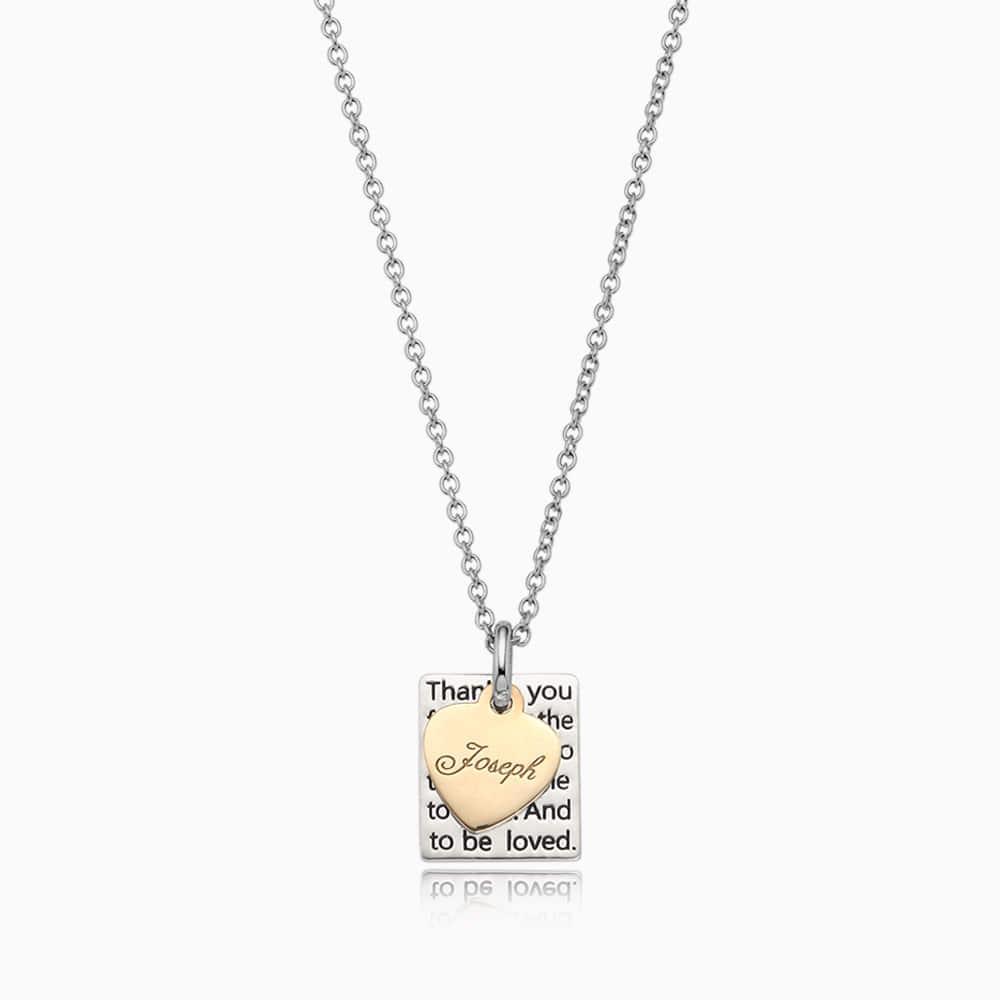 银色方形盘 -  5K金心雕刻项链