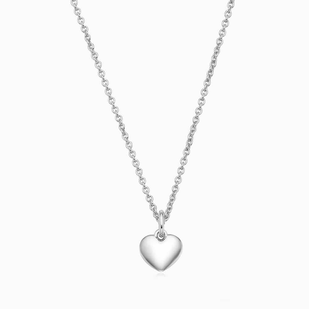 银色迷你心形友谊项链 - 可雕刻