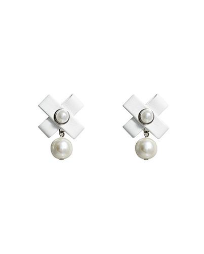 Leather Cross Pearl earring