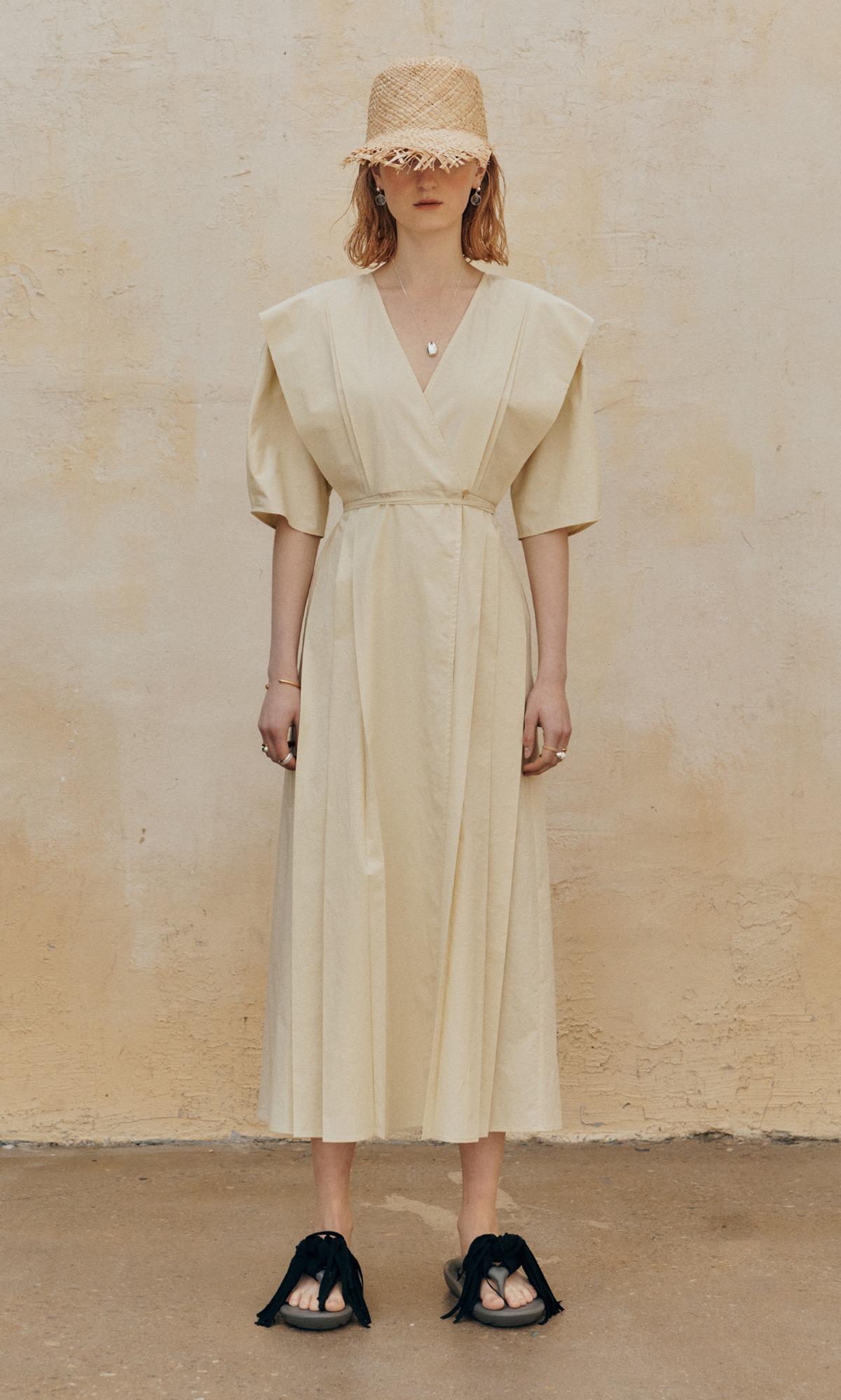 Pli Pleats Dress_Pale Yellow