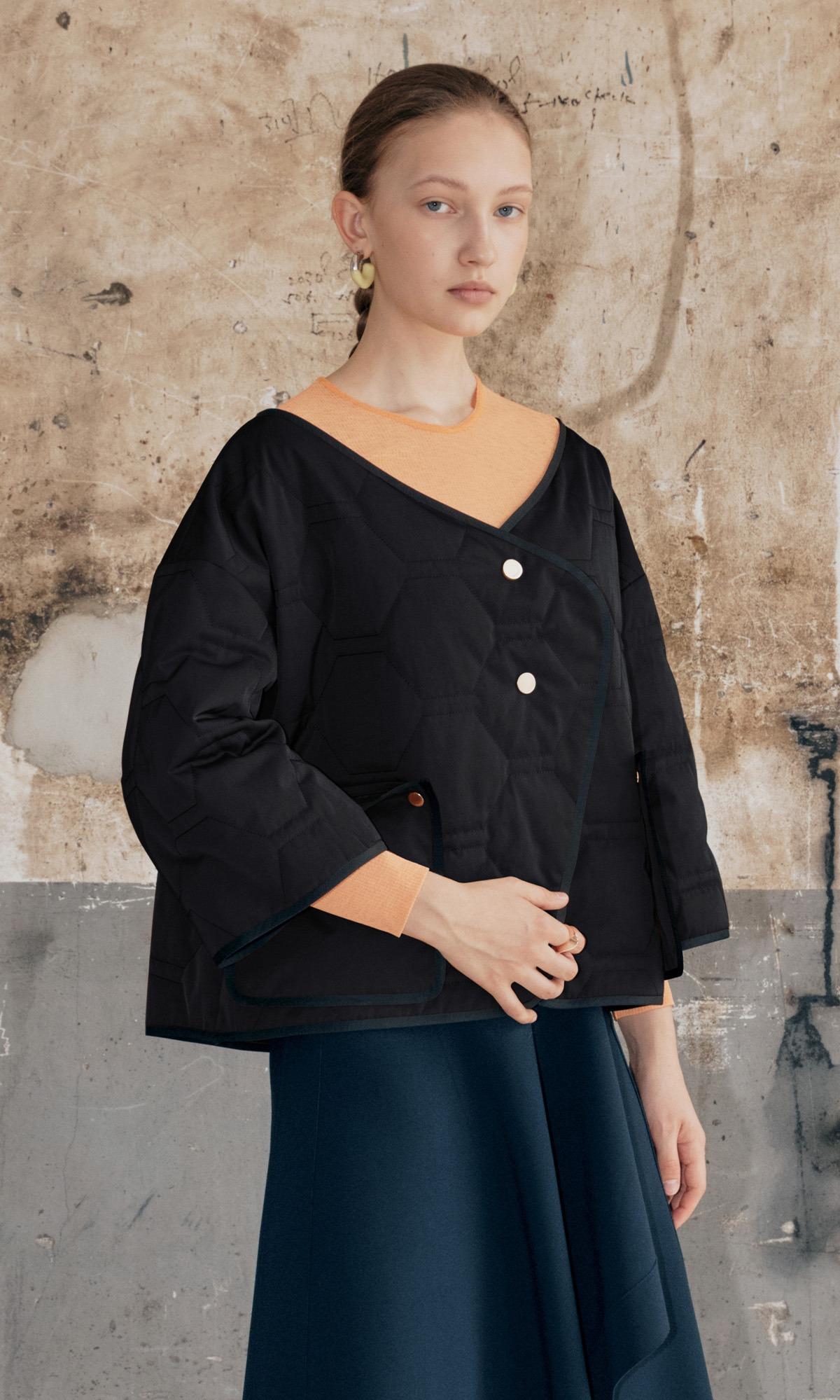 Verdi Layer Padded Coat_Black Combi
