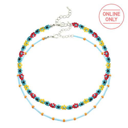 Color Beads Flower Layered Necklace SET/컬러 비즈 플라워 레이어드 목걸이 세트