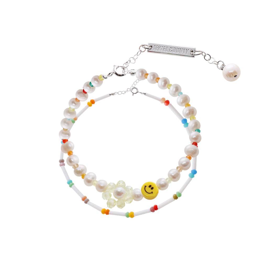 Smile Face Beads Bracelet SET/스마일 페이스 비즈 팔찌 세트