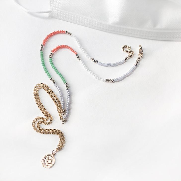 Mask & Sunglasses & Necklace Beads Chain String(1=3)/마스크 & 선글라스 & 네크리스 비즈 체인 스트링(1=3)