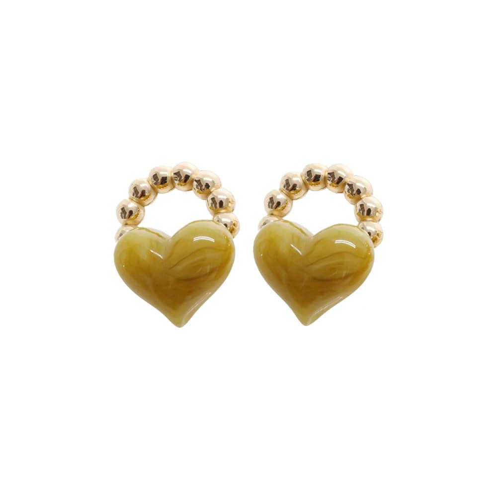 Green Tea Latte Heart Earrings