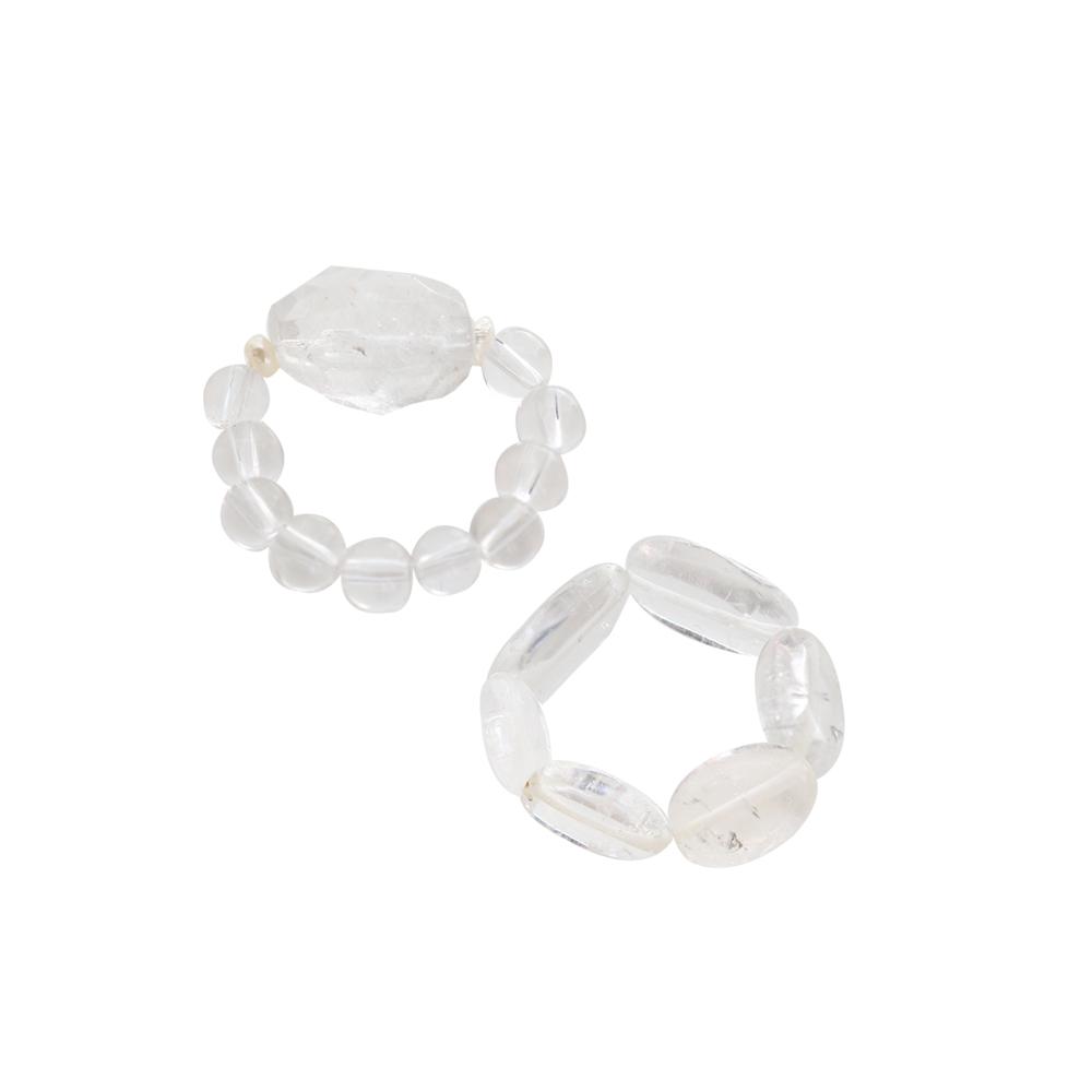 Crystal Gemstone Ring Set/백수정 원석 반지 세트