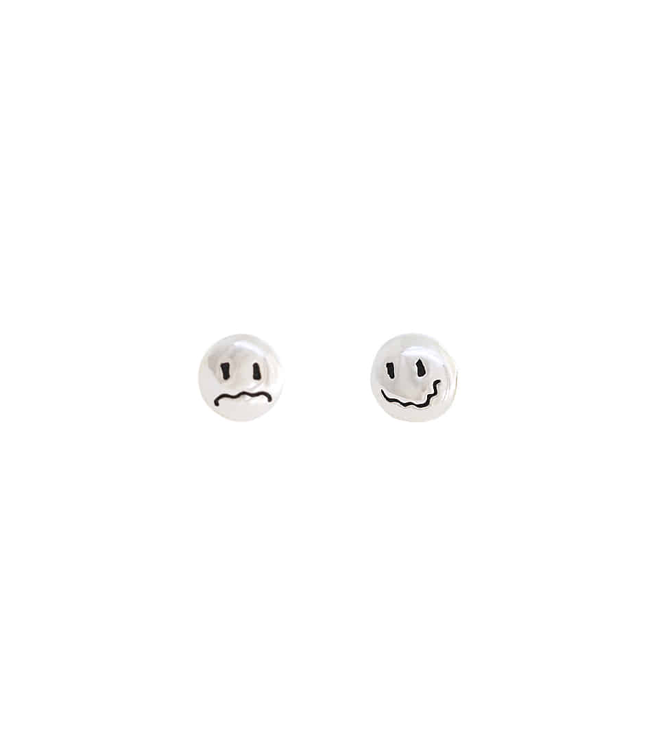 OOPS&OUCH Simple HAPPY & BORED Face Earrings in Silver