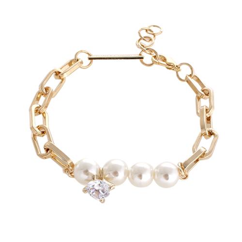 Diamond & Pearl Chain Bracelet[GOLD]