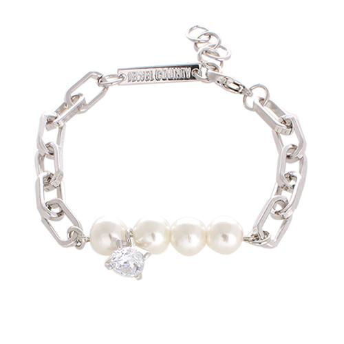 Diamond & Pearl Chain Bracelet[SILVER]/
