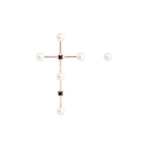 [92.5 Silver] Black Spinel & Rosegold Cross Earrings/[92.5 실버] 블랙 스피넬 앤 로즈골드 크로스 귀걸이