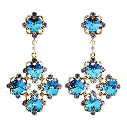 Ocean Heart Multi Crystal Drop Earrings