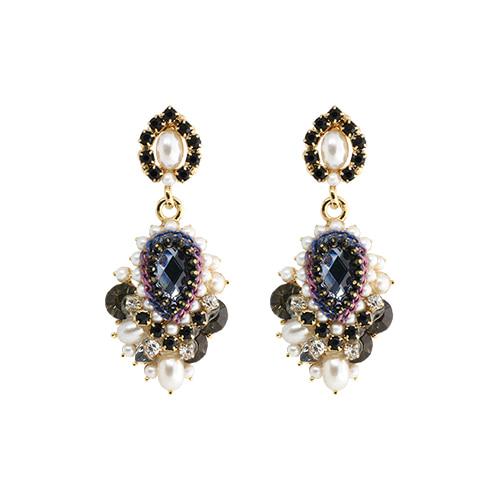 Navy Crystal Bouquet Earrings