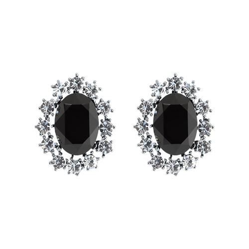 Black Onyx Post Earrings/블랙 오닉스 포스트 귀걸이