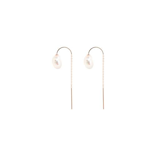 [92.5 Silver] Fresh-Water Pearl & Rosegold Semicircle Chain Earrings