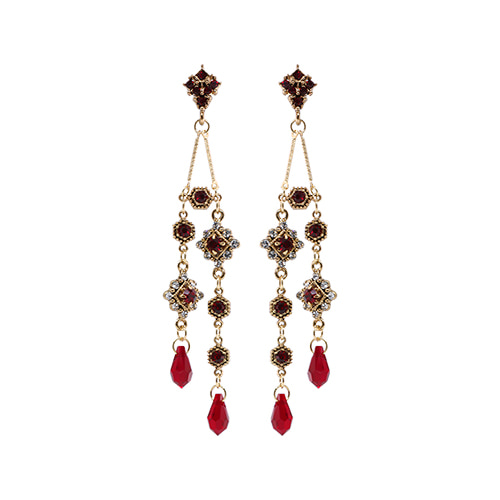 Antique Red Crystal Double Drop Earrings