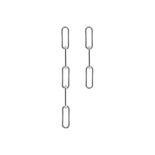 [All 92.5 Silver] Glossy Silver Chain Drop Earrings/[전체 92.5 실버] 글로시 실버 체인 드롭 귀걸이