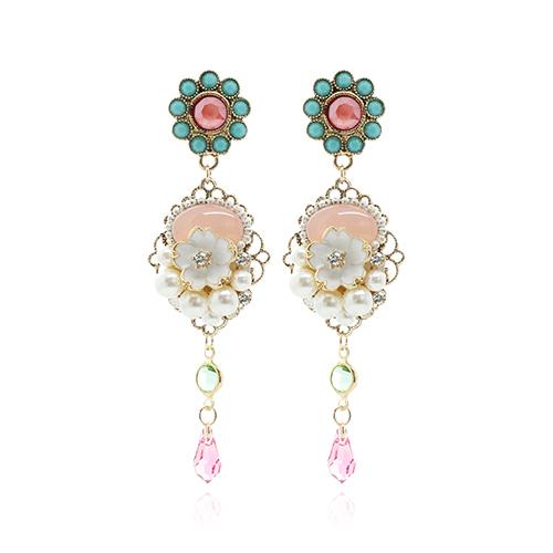 Pink Color Flower White Drop Earrings/핑크 컬러 플라워 화이트 드롭 귀걸이