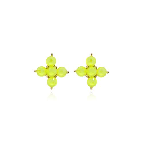 Neon Yellow Cross Post Earrings/네온 옐로우 크로스 포스트 귀걸이