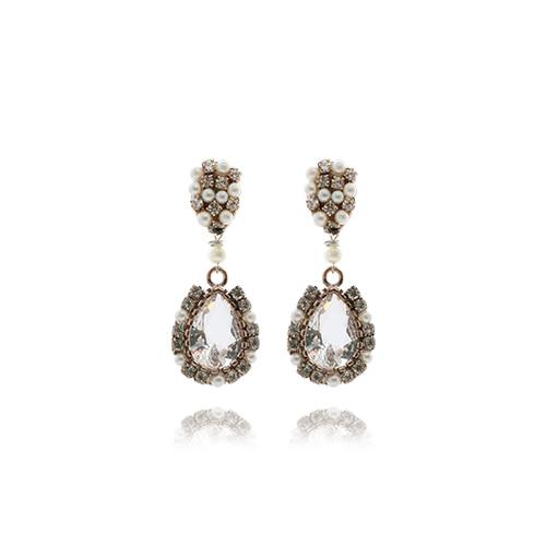 Crystal Drop Earrings(white)