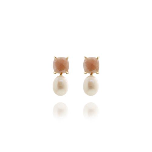 [92.5 Silver] Pink Gemstone Post Earrings/핑크 젬스톤 포스트 귀걸이