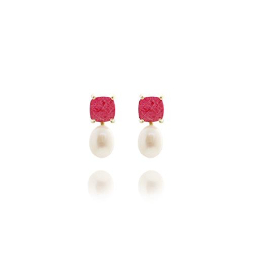 Hotpink Gemstone Post Earrings