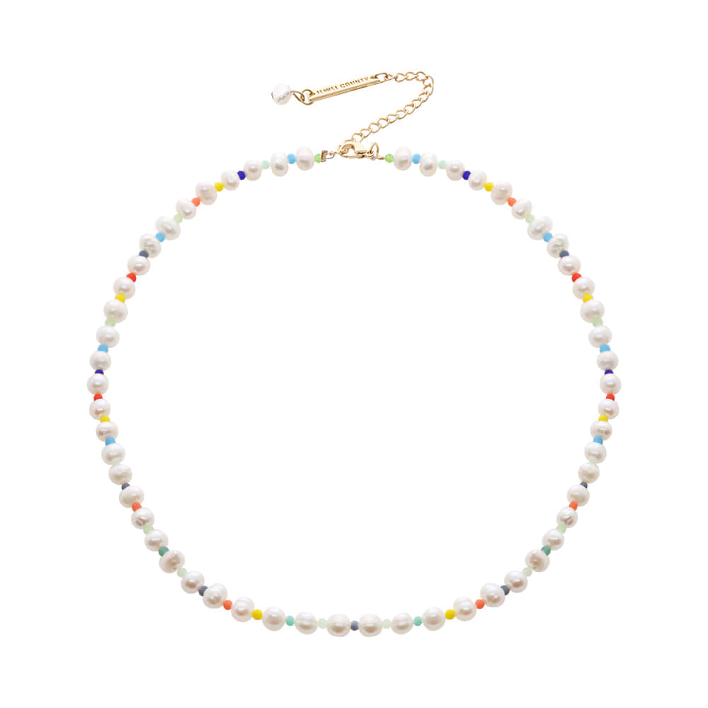 Color Beads & Pearl Necklace