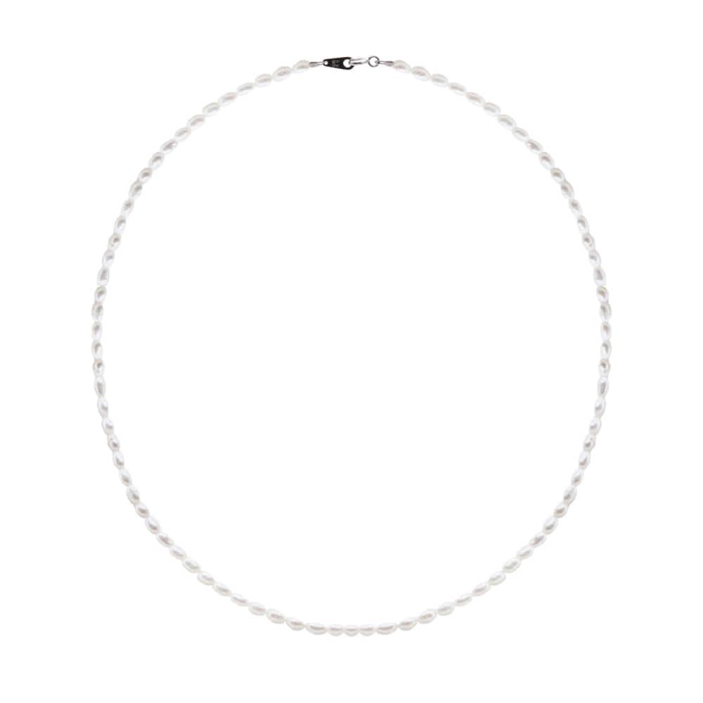[92.5 Silver]Mini Pearl Line Necklace-L