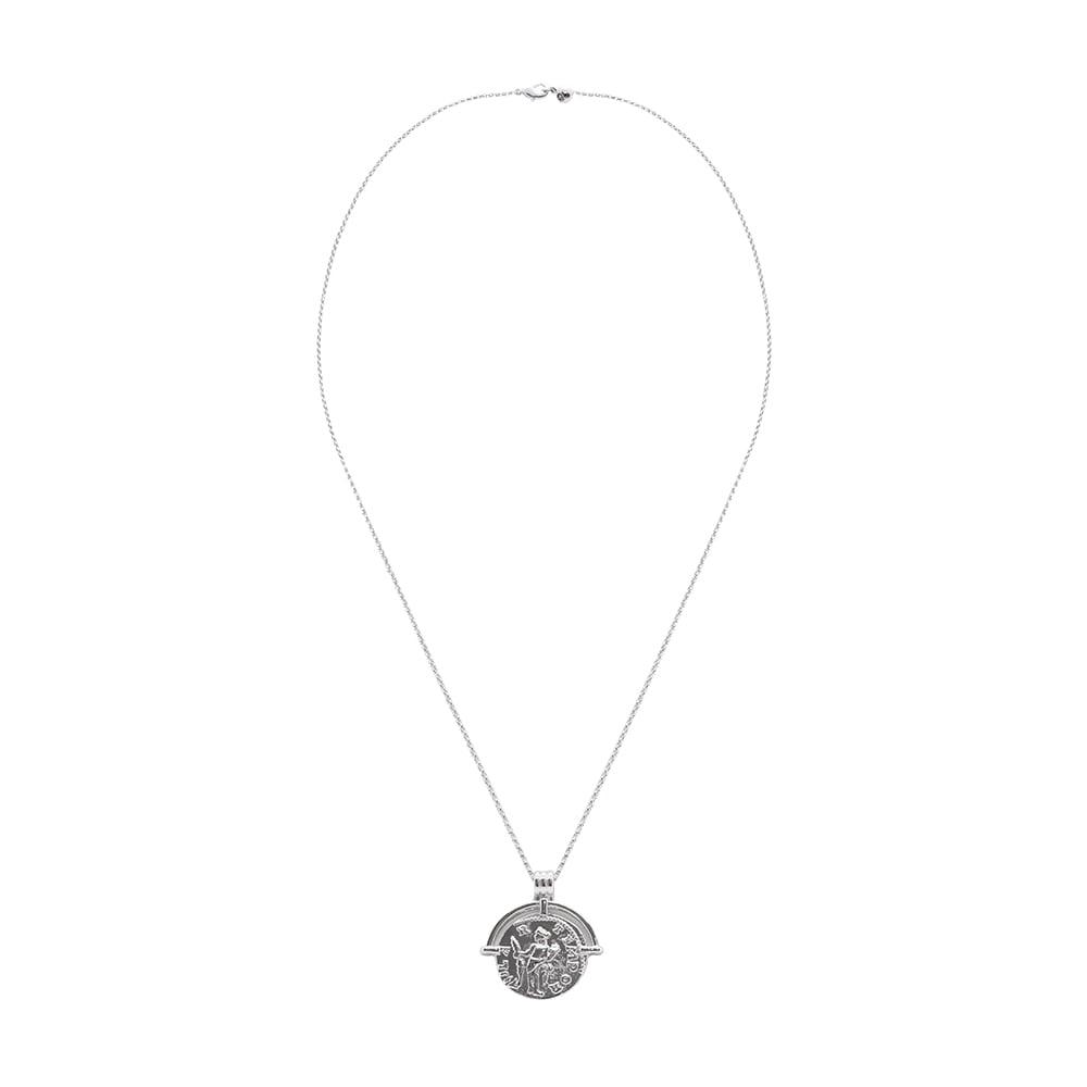 Silver Coin Long Necklace