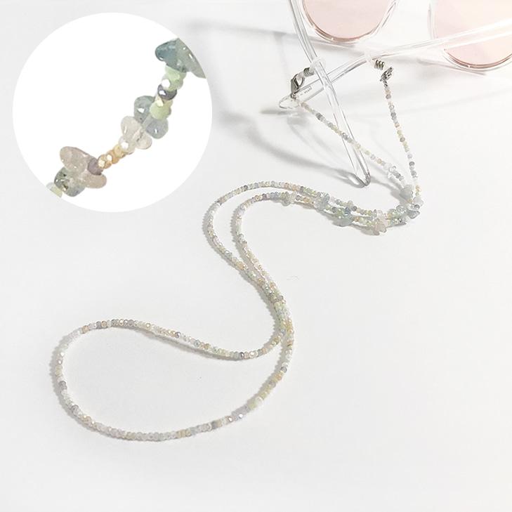 Mask & Sunglasses & Necklace Gemstone Beads String(1=3)/마스크 & 선글라스 & 네크리스 젬스톤 비즈 스트링(1=3))