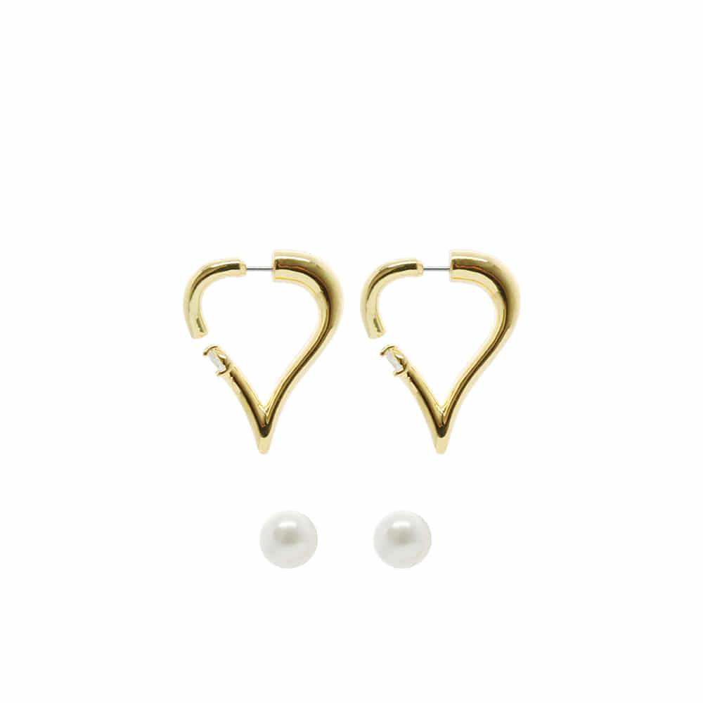 Heart Riverse Open Hoop Earrings