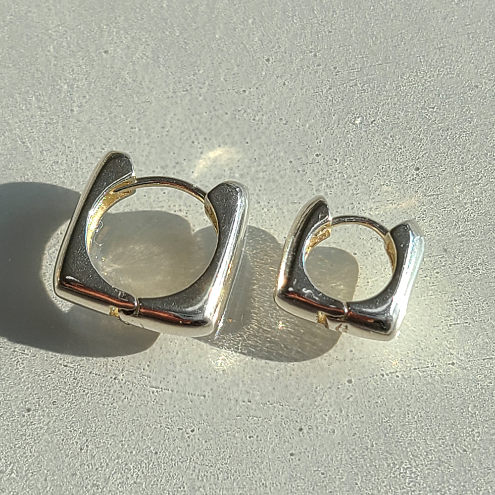 92.5 Silver Square Onetouch Earrings/92.5 실버 스퀘어 원터치 귀걸이