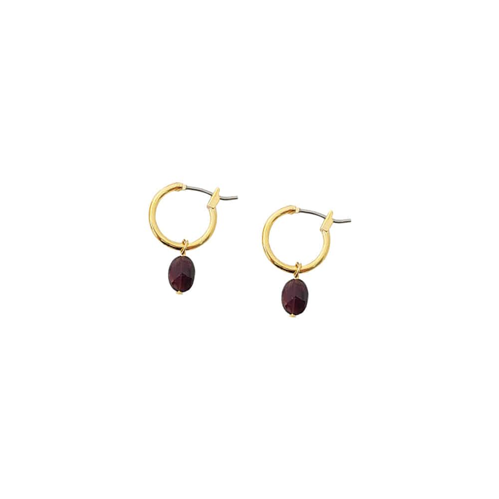Mini Gemstone Hoop Earrings/미니 젬스톤 후프 귀걸이