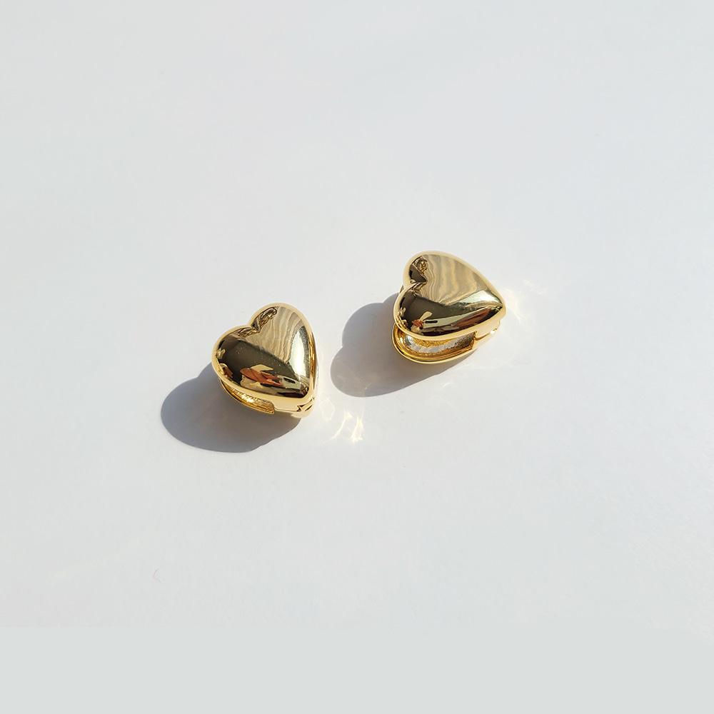 Volume Heart Onetouch Earrings/볼륨 하트 원터치 귀걸이