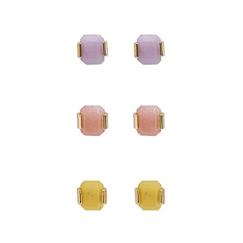 淡彩宝石耳钉