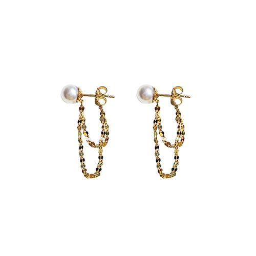 92.5银色珍珠链接耳环