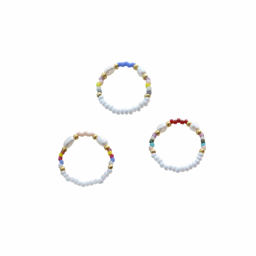 东方珠子混合戒指