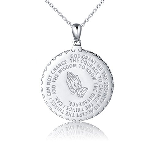 Bible Verse Prayer Necklace Christian Jewelry Sterling Silver Praying Hands Coin Medal Pendant (silv
