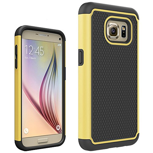 MARS MEN Hybrid Dual Layer Armor Defender Protective Case Cover for Samsung Galaxy S7(Yellow)