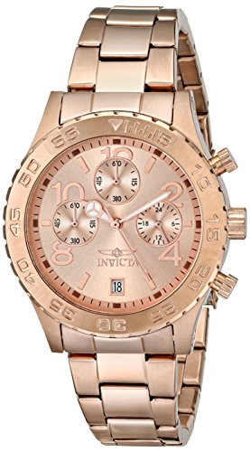 Invicta Mens 1280 II Collection Chronograph Rose Dial 18k Rose Gold Ion-Plated Stainless Steel Watch
