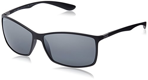 Ray-Ban RB4179 601S82 Polarized Rectangular Sunglasses  Matte Black/Polar Grey Mirror Silver Gradien